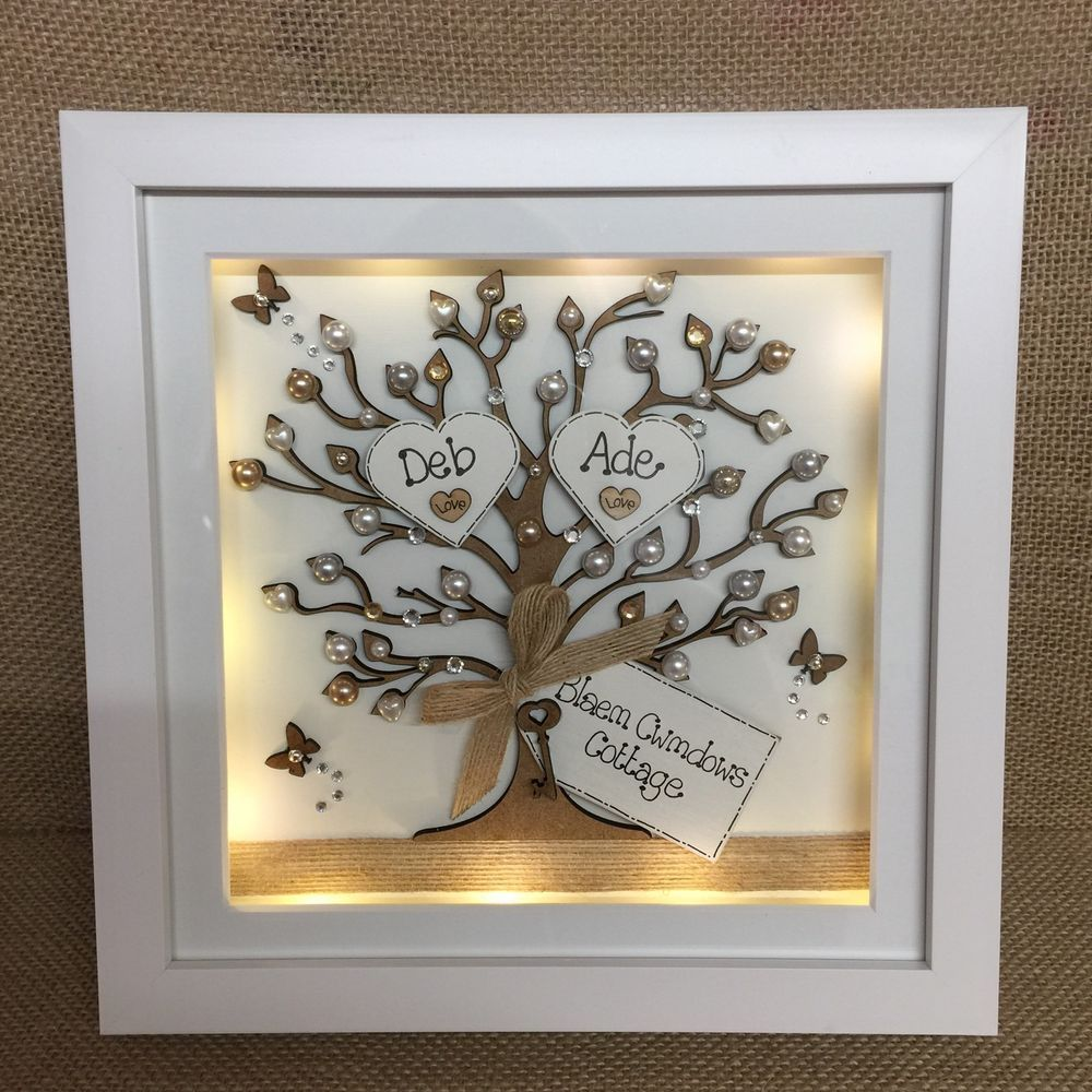 Personalised LED lights Deep Box Frame Family tree New Home House ...
