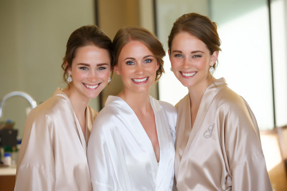 417a090492 Bridesmaid robes champagne wedding robes bridesmaid silk robe dressing gown  personalized robes kimon