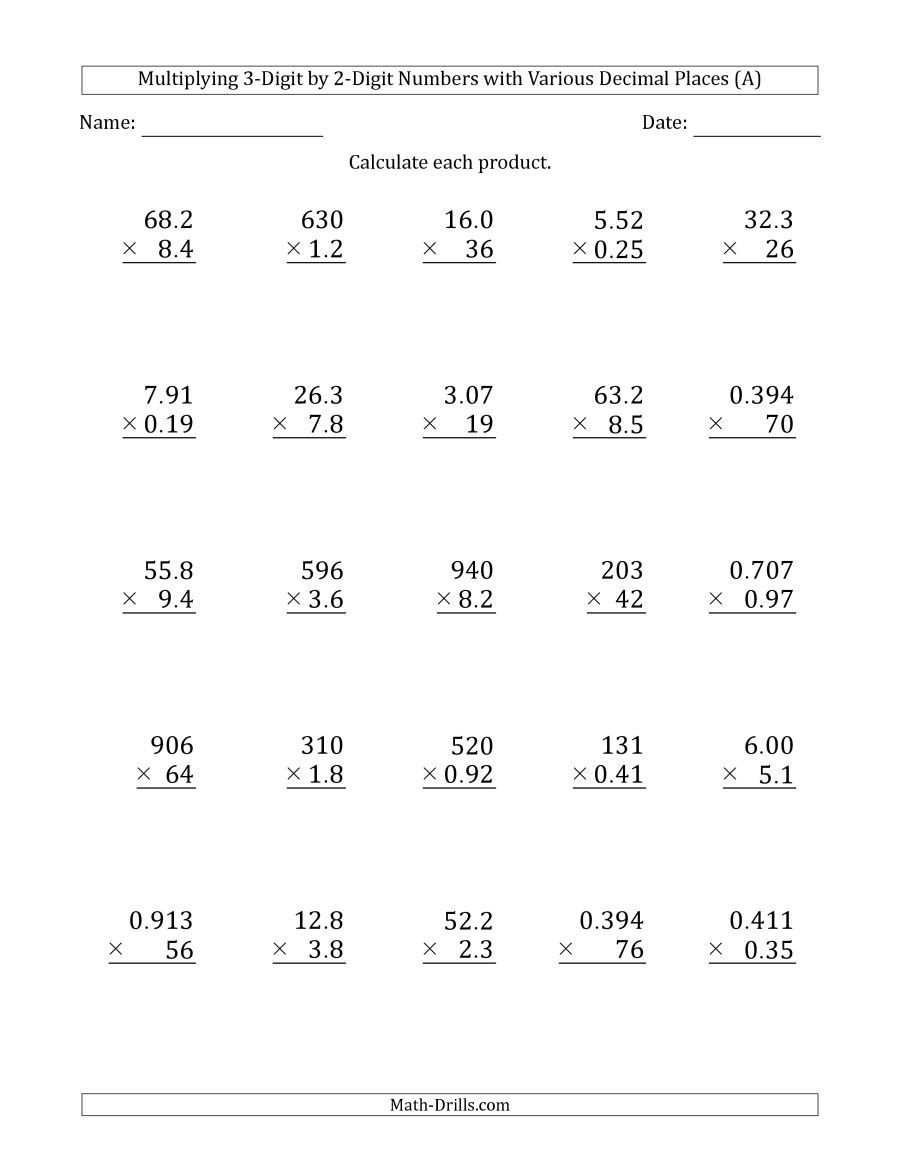 The Multiplying 3 Digit By 2 Digit Numbers With Various Decimal