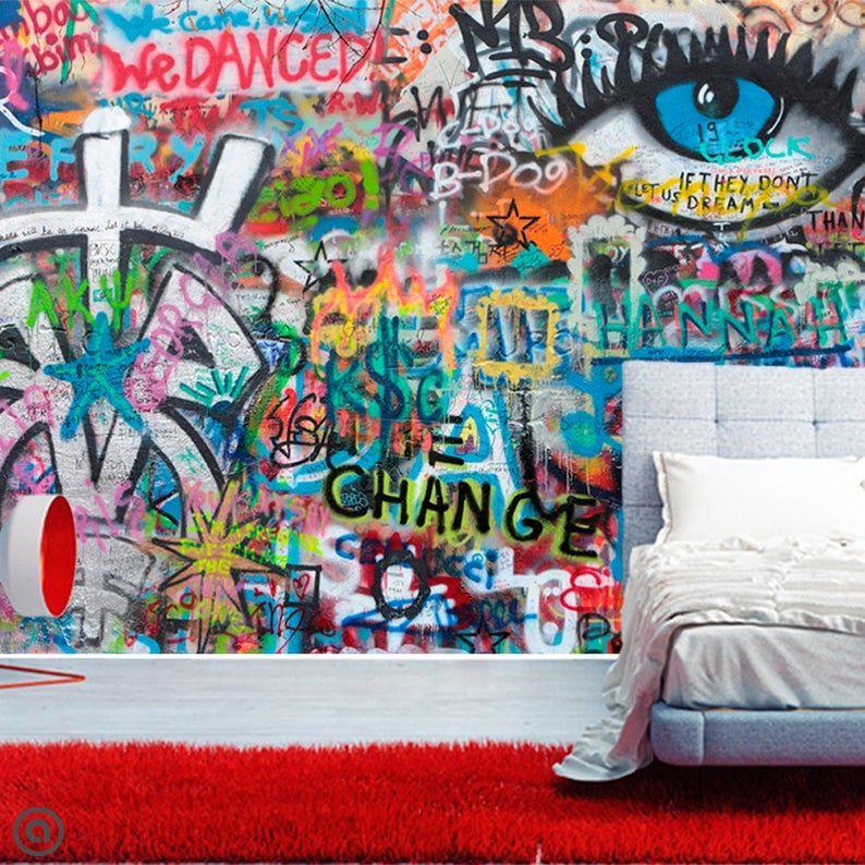 Removable Wallpaper Change Graffiti Mural Peel And Stick Etsy Graffiti Wall Graffiti Murals Mural Wallpaper