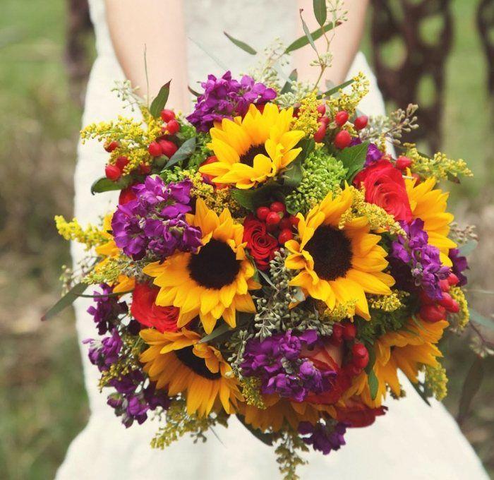 Herbst Brautstrauss Sonnenblumen Lila Deko Hochzeit Strauss