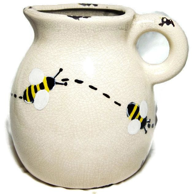 Pot with wreath of painted bees - Ceramic vase with bees - Pitcher with decoration bees de la boutique LULdesign sur Etsy