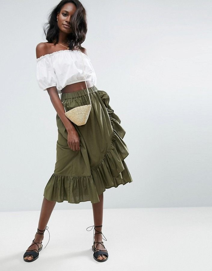 288cd680a5 Shop for Wrap Midi Skirt in Cotton with Ruffle Hem by Asos at ShopStyle  Khaki Skirt