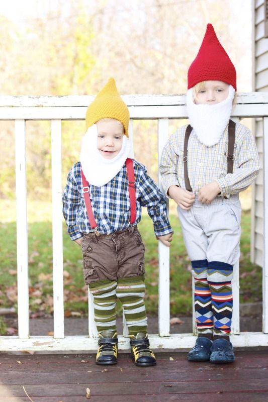 home grown gnome costumes with hand made hats and beards - halloween costumes with beards ideas