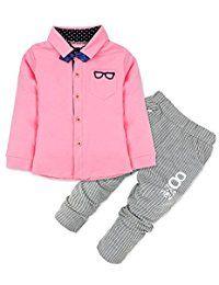 iEFiEL Conjuntos de Top Camisa Manga Larga y Pantalones para Niño Bebé de 9  Meses a 4 Años Conjuntos Hidalgos 65d60cedc26a
