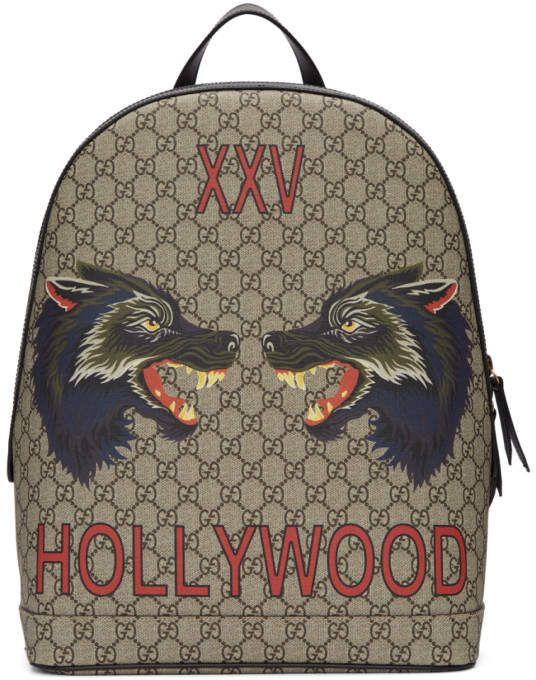 Gucci Beige GG Supreme XXV Hollywood Wolf Backpack  5b09a55b9d9a9