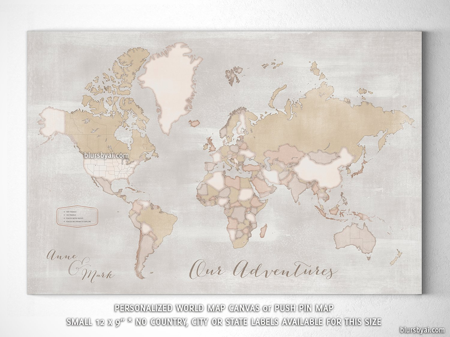 small personalized rustic world map canvas print or push pin map 12x9 lucille
