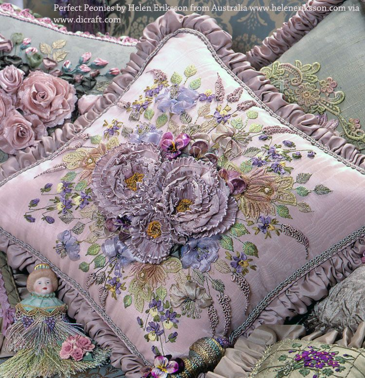 Fabulous silk ribbon embroidery creations by my gifted friend and artist, Helen Eriksson, from Walkerville, Adelaide in South Australia to inspire… Click on image to enlarge