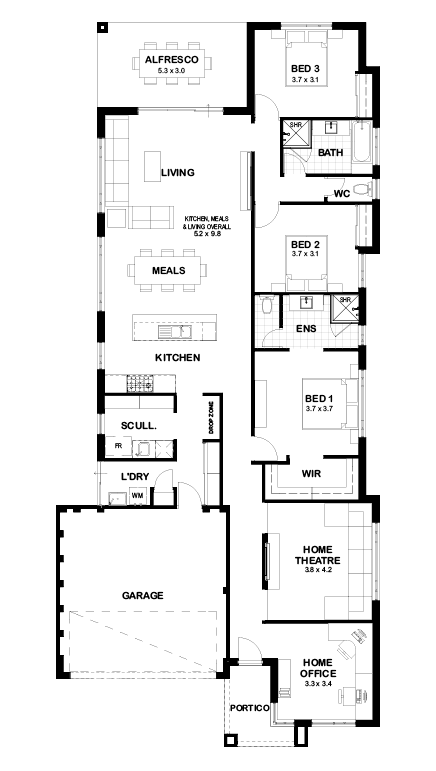 Floor Plans Of H244 By Momu House Plans Australia Bedroom House Plans Floor Plans