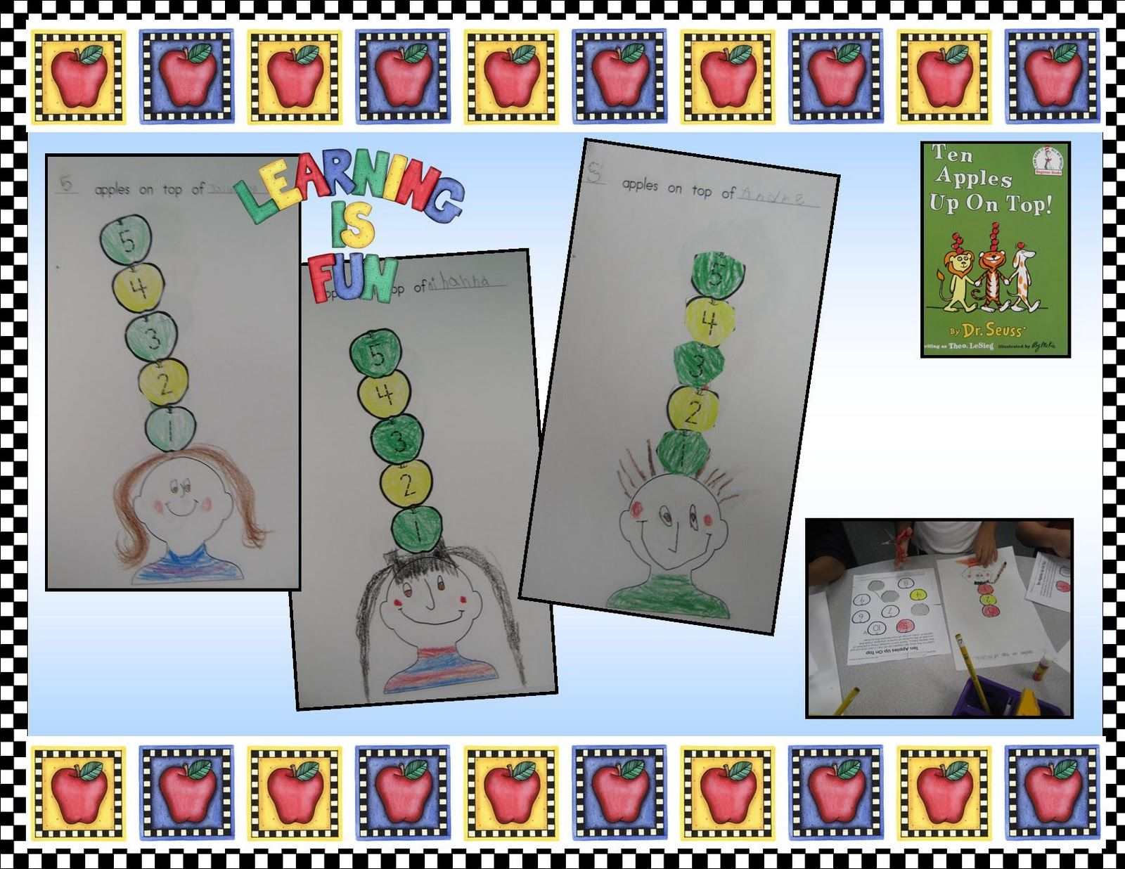 Kindergarten Crayons 10 Apples On Top Ab Pattern Self Portraits Cutting Practice Number