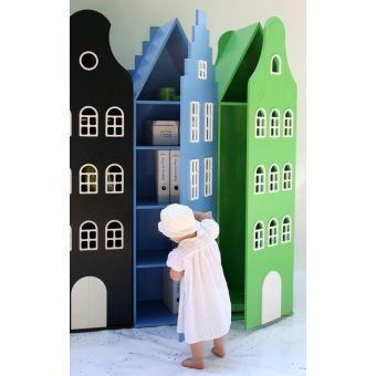Children Wardrobe // Armoire maison Amsterdam escalier - Bleu ciel