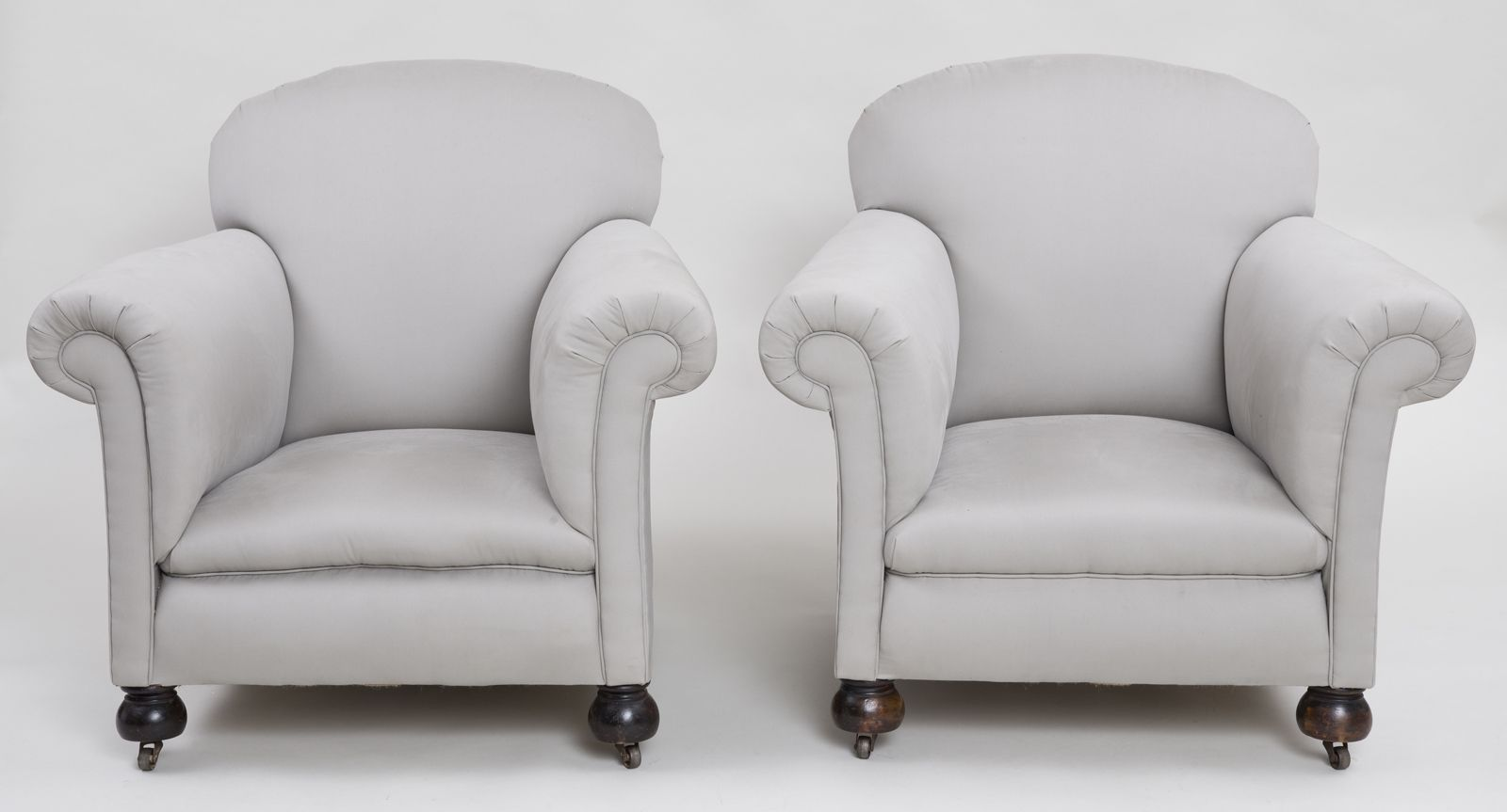 Pair large English club chairs with rounded backs, outwardly ...