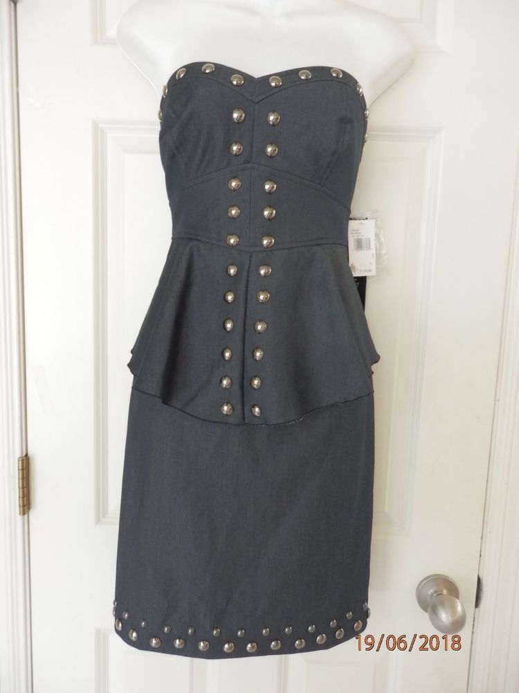 c320d9b39ad  DenimDress KENSIE BLACK DENIM STRAPLESS DRESS WITH STUDS SZ 8 NEW WITH  TAGS - Denim Dress  4.00 (0 Bids) End Date  Sunday Nov-11-2018 16 56 14 PST  Bid now ...