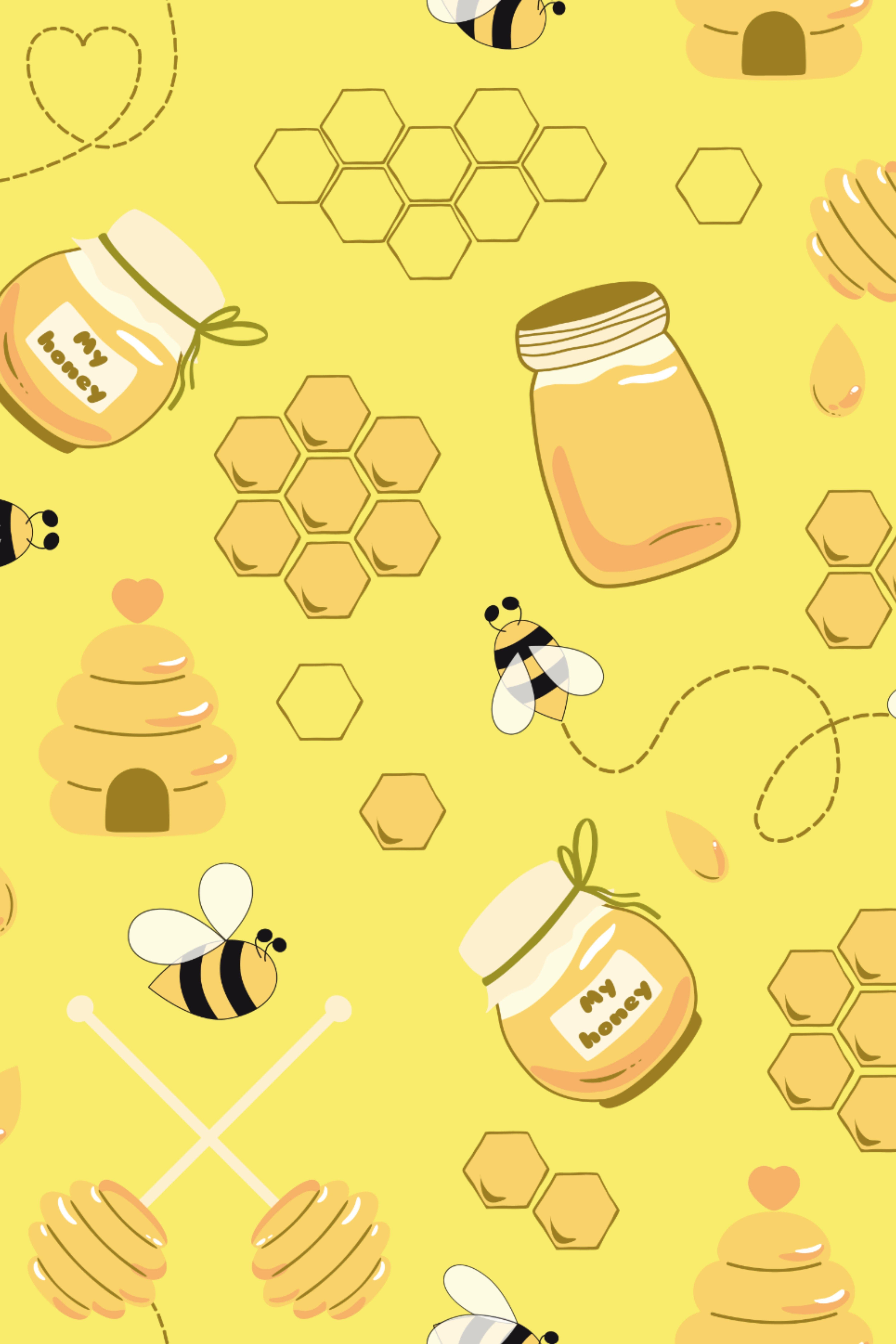 10 Honey Bee Patterns Cute Bee Honey Bee Cartoon Cute Bee Cute Patterns Wallpaper