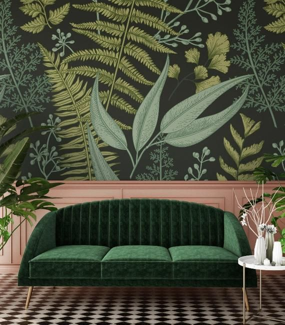 Removable Wallpaper Dark Ferns 138 Removable Wallpaper Peel And Stick Wallpaper Self Adhesive Wallpaper N Home Wallpaper Classic Wallpaper Fern Wallpaper