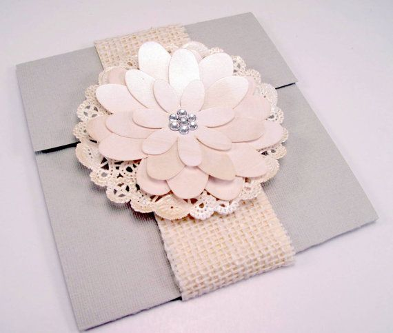 Vintage Handmade Wedding Invitations: Elegant Handmade Flower Wedding Invitation Vintage By