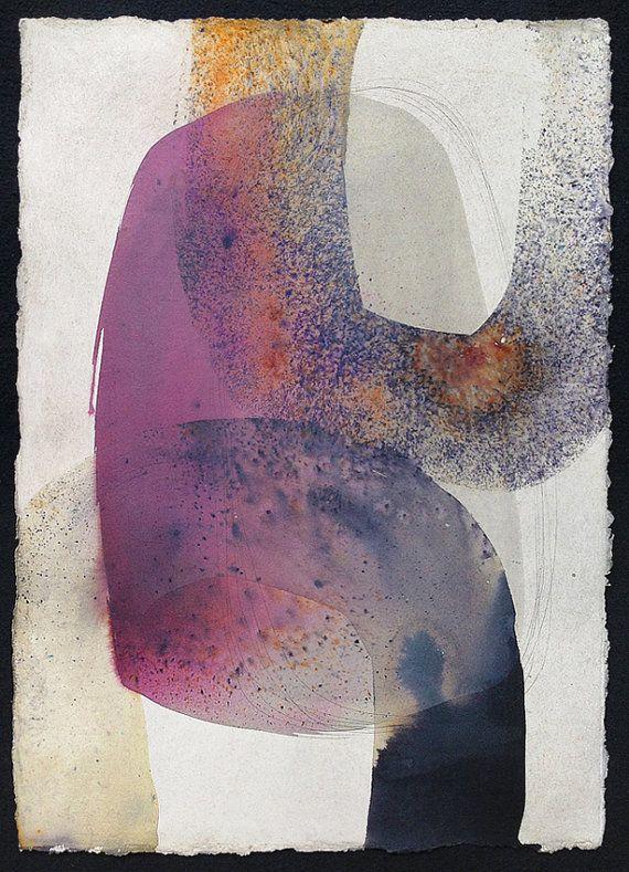 Original Aquarell Abstrakte Kompositionen Moderne Malerei