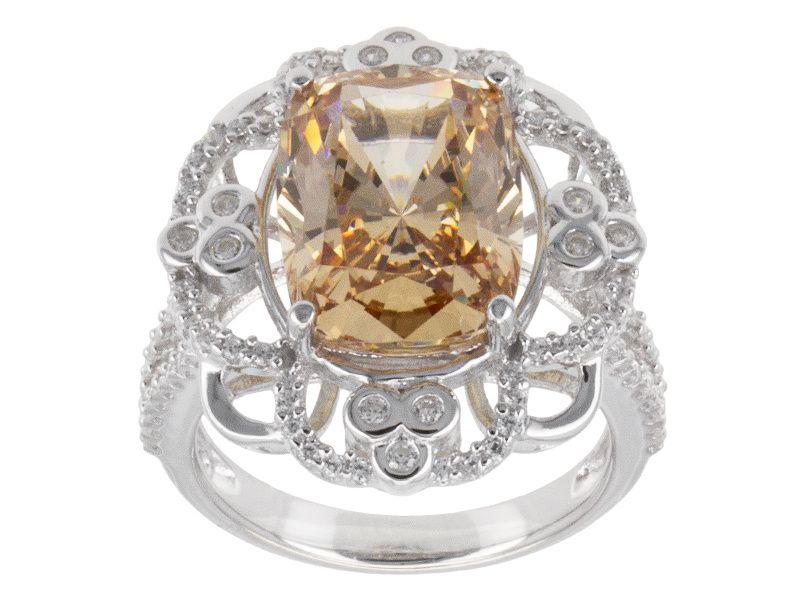 Bella Luce (R) 11.89ctw Champagne And White Diamond Simulant Rhodium Over Silver Ring (9.04ctw Dew)