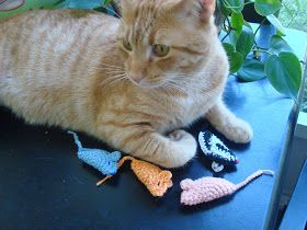 Weezer's favorite toys have always been those cheapy half moon mice from the pet store. He kills them easily so I made him some that could ...