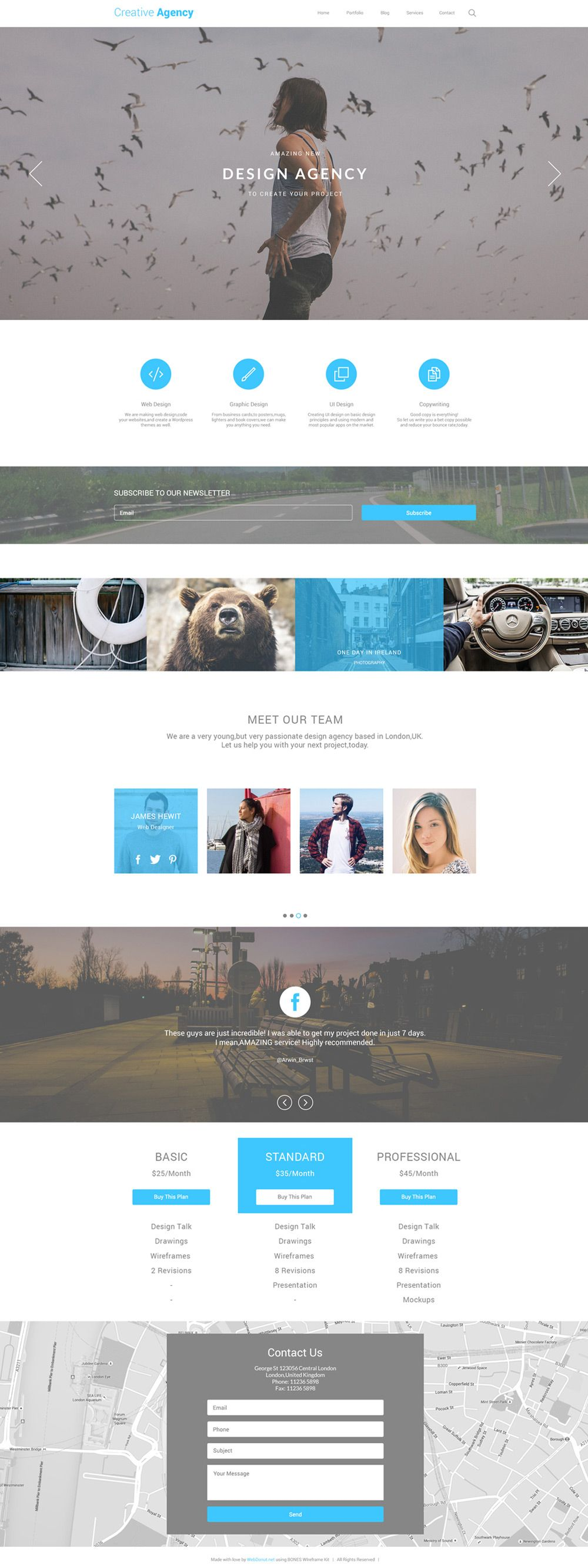 Creative Agency One Page Template PSD | AR+C | Pinterest
