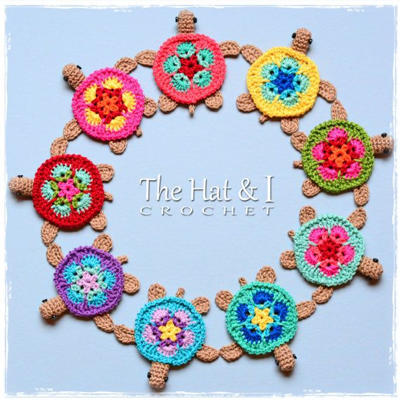 CROCHET PATTERN - Tiny Turtles - crochet turtle pattern, honu turtle motif, turtle applique, turtle ornament pattern - Instant PDF Download #crochetturtles