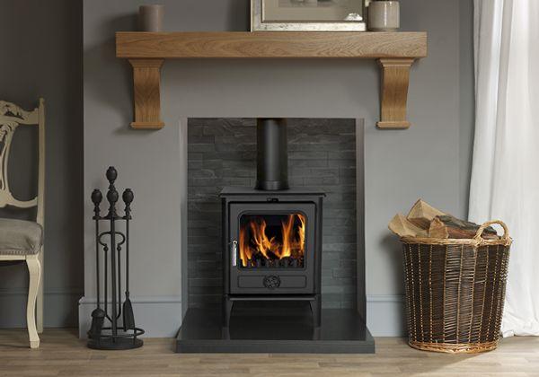 Oak Fireplace Shelves Wood Burner, Cast Iron Fireplace Wood Burning Stove