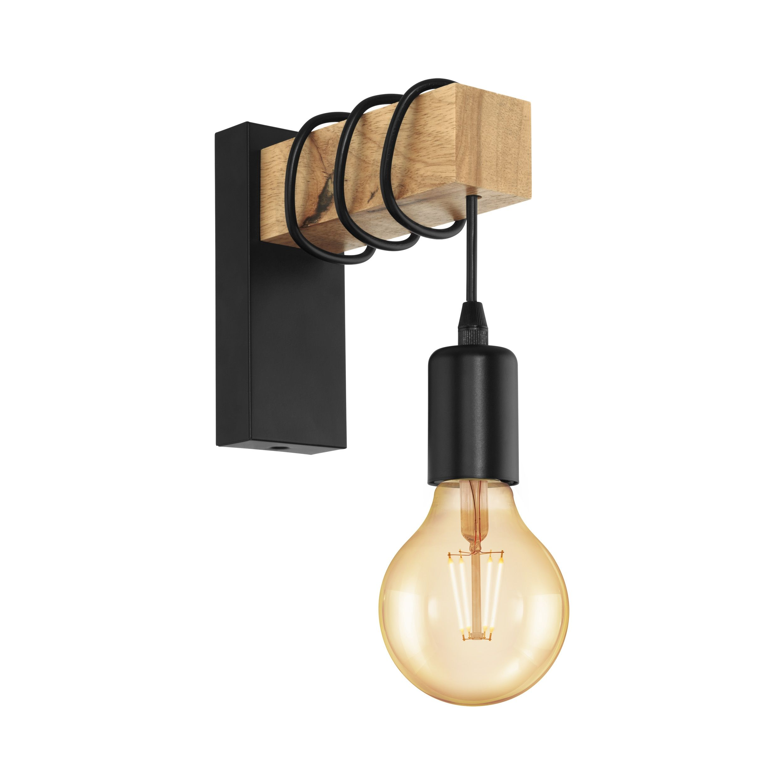 Eglo Townshend Wooden Wall Light In 2020 Wooden Wall Lights Industrial Wall Lights Bracket Wall Light