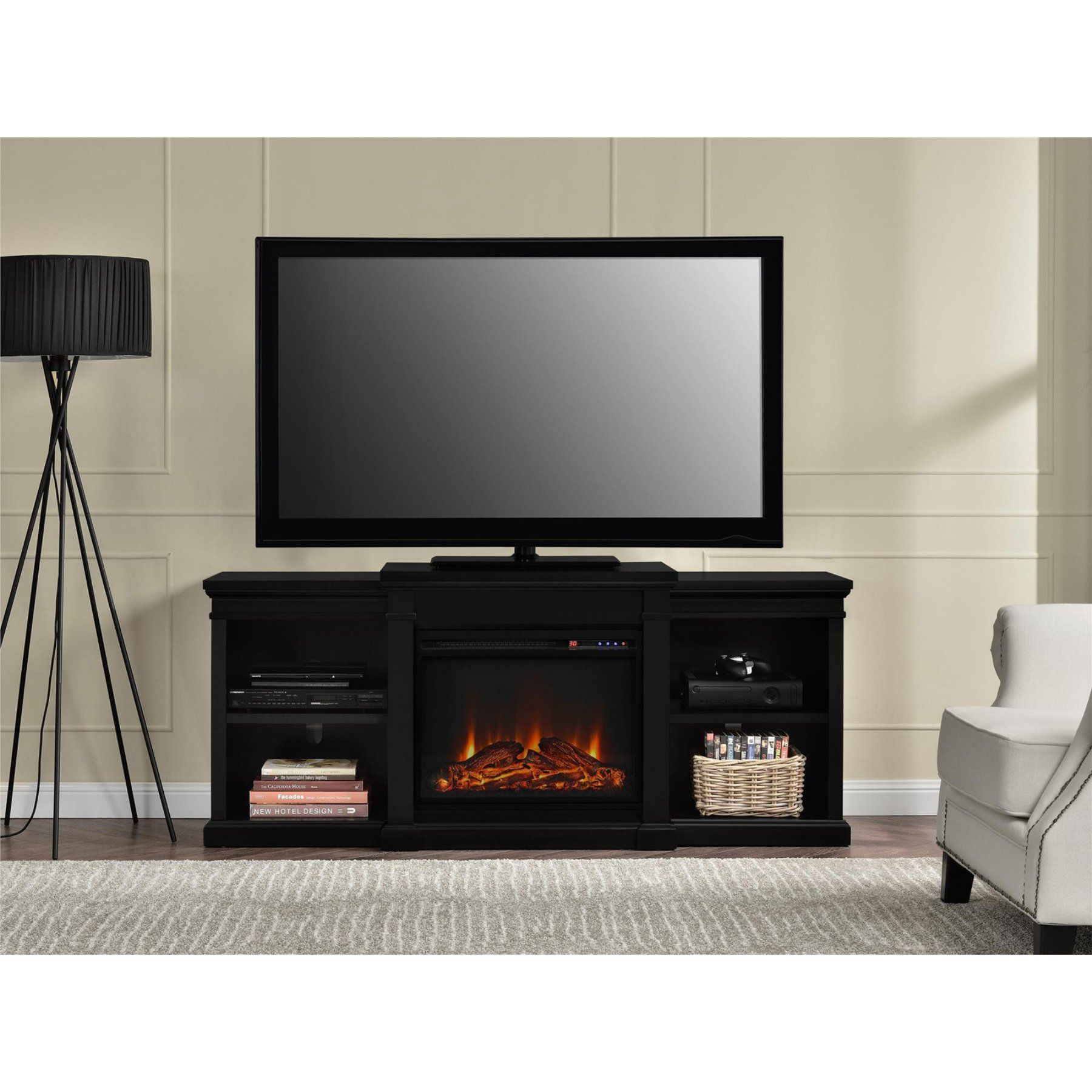 Ameriwood home manchester electric fireplace tv stand with side