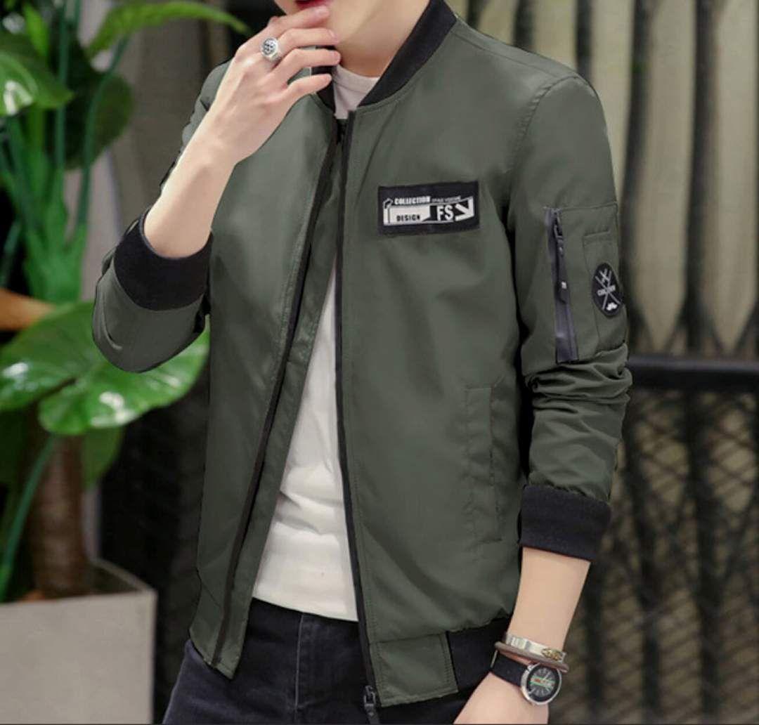 Mens Zip Up Bomber Jacket With Badge Men Casual Bomber Jacket Men Leather Jacket Men [ 1032 x 1080 Pixel ]