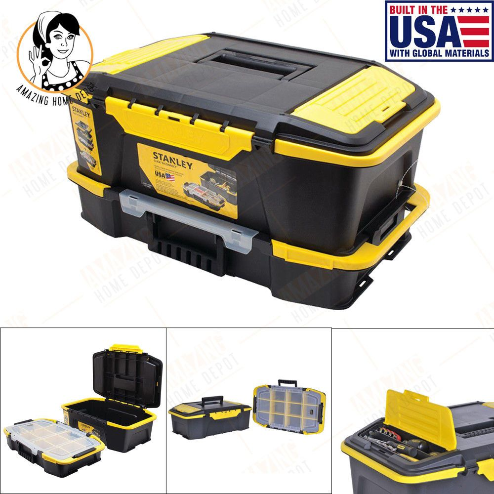 Attirant USA STANLEY Tool Box Organizer Storage Bin 20u0027u0027 Portable Stackable Plastic  Chest #Stanley