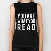 Biker Tank featuring You Are What You Read - Black and White inverted by bookwormboutique