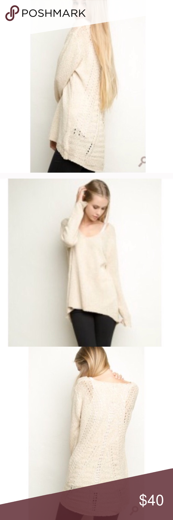 740f8b9c3d289 Brandy Melville Oversized V-Neck Cream Sweater Beautiful cream sweater just  a little too big for me