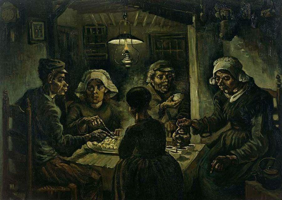 لوحة من أعمال فنسنت الأولى بعنوان آكلو البطاطس Van Gogh Art Vincent Van Gogh Paintings Van Gogh Paintings