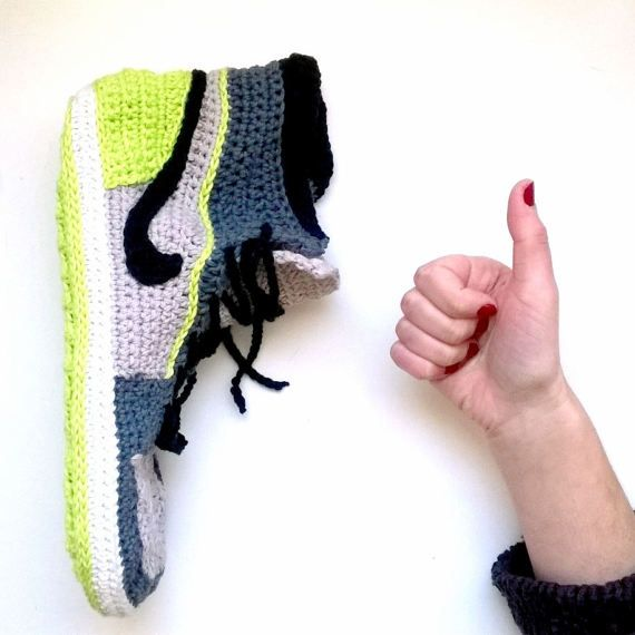 Crochet PATTERN. Air Jordans style slippers Adult sizes | Air ...