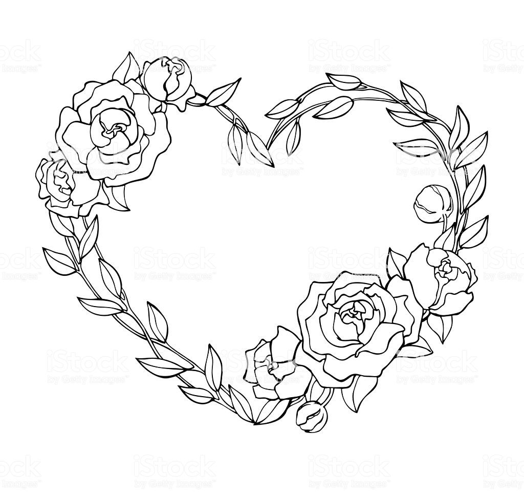 Vector Hand Drawn Rose Wreath In Heart Shape Illustration Great