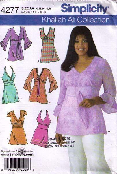 2006 Tunics Pattern 4277 S Sizes 10 18 Khaliah Ali Collection