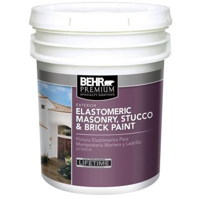 Behr premium 5 gal elastomeric masonry stucco and brick - Exterior textured paint home depot ...