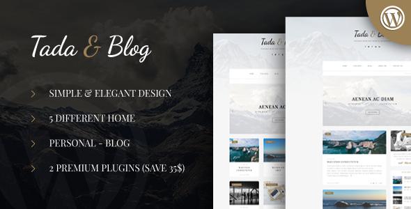 Tada & Blog - Personal Blog WordPress Template   Pinterest