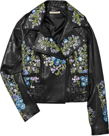 70603ba4c36 Women's Black Embroidered Leather Biker Jacket | leather jackets ...
