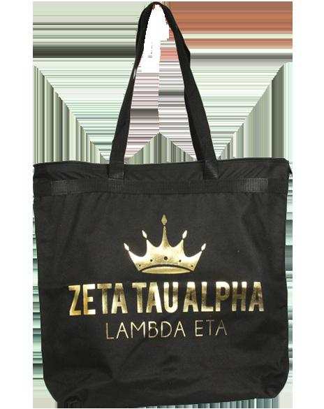 Zeta Tau Alpha Gold Crown Tote Bag by Adam Block Design | Custom Greek Apparel & Sorority Clothes | www.adamblockdesign.com