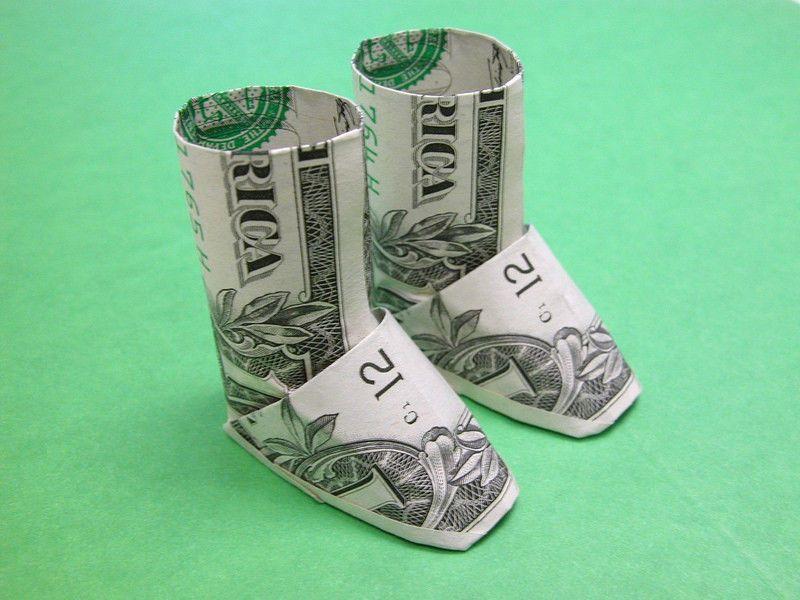 Boots Money Origami | Money gifts | Money origami, Dollar bill