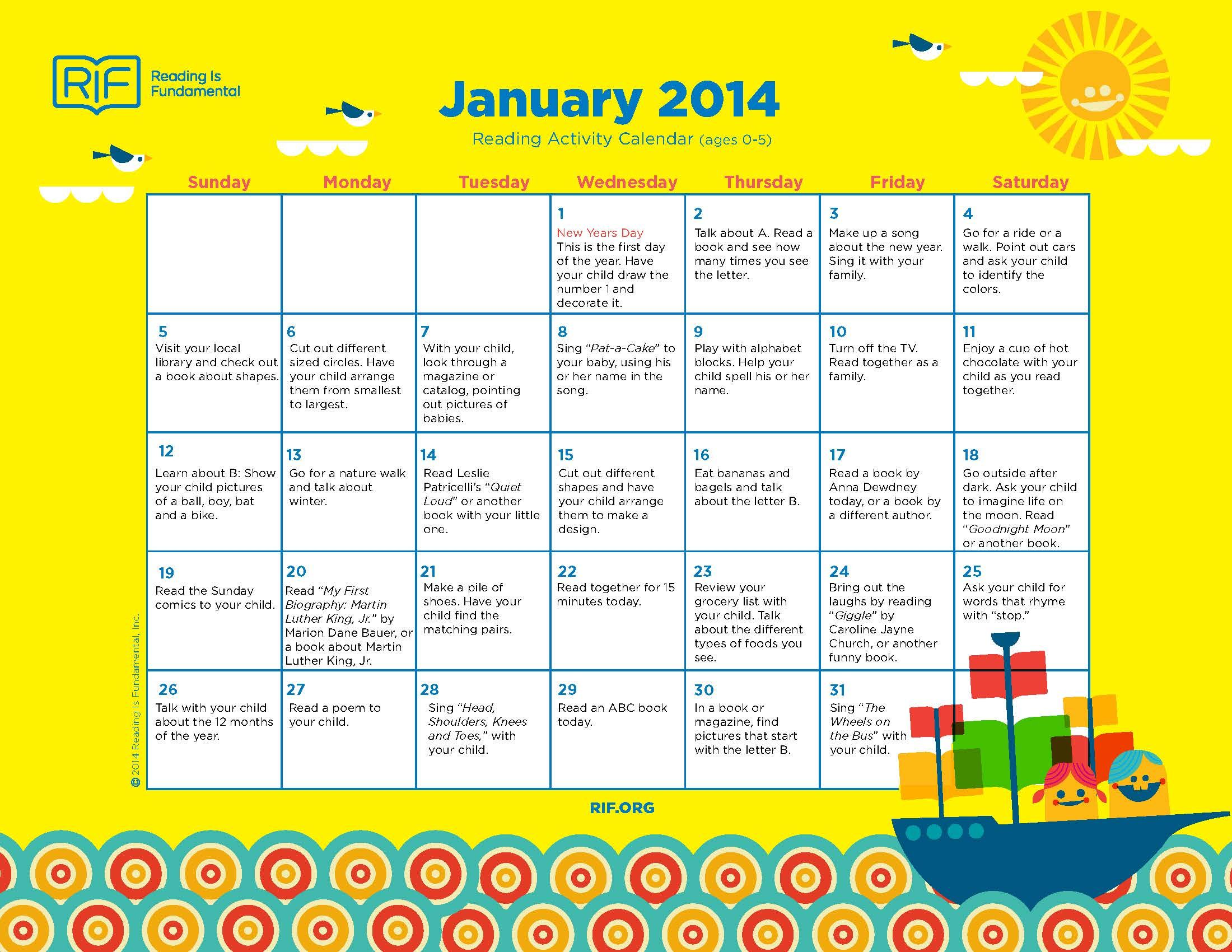 Free Downloads Of Monthly Reading Activity Calendars From Reading Is Fundamental