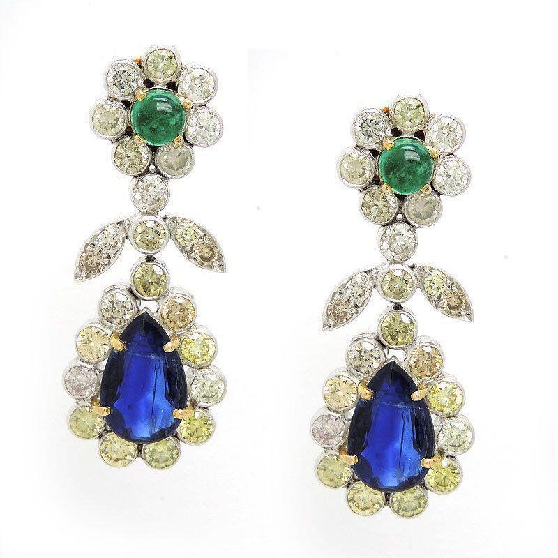 Deposit For Custom Piece Emerald Diamong Earrings Blue Etsy Sapphire And Diamond Earrings Earrings Blue Sapphire Diamond