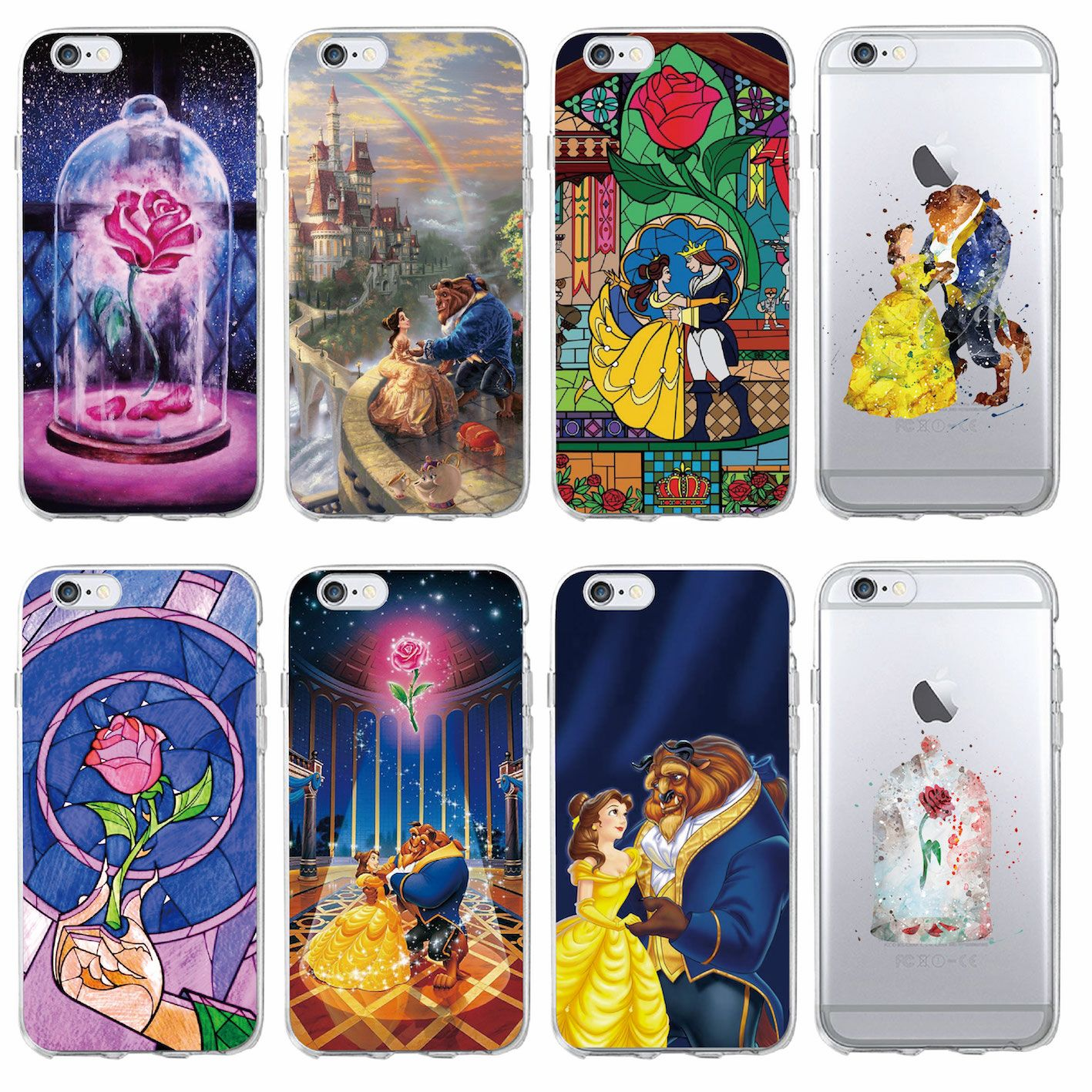 Beauty Beast Rose Princess Soft Clear Phone Case For