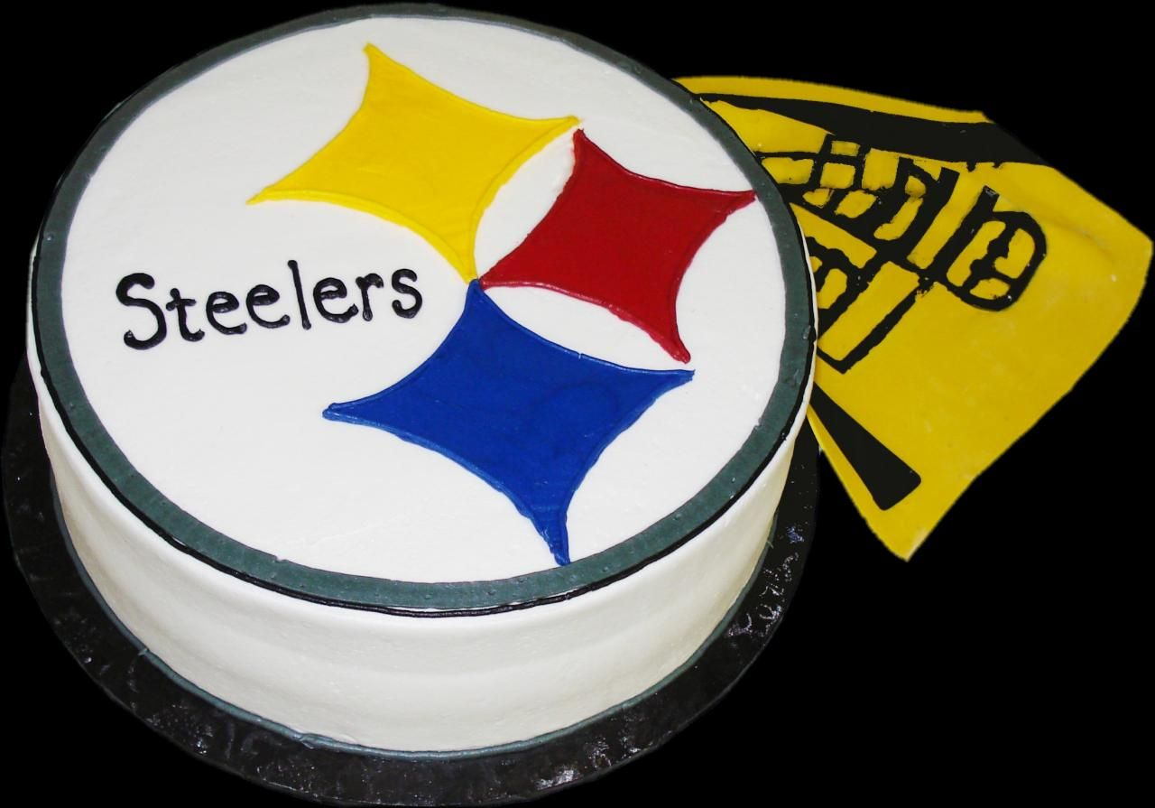 Pittsburgh Steelers Birthday Cake White Butercream Iced Round