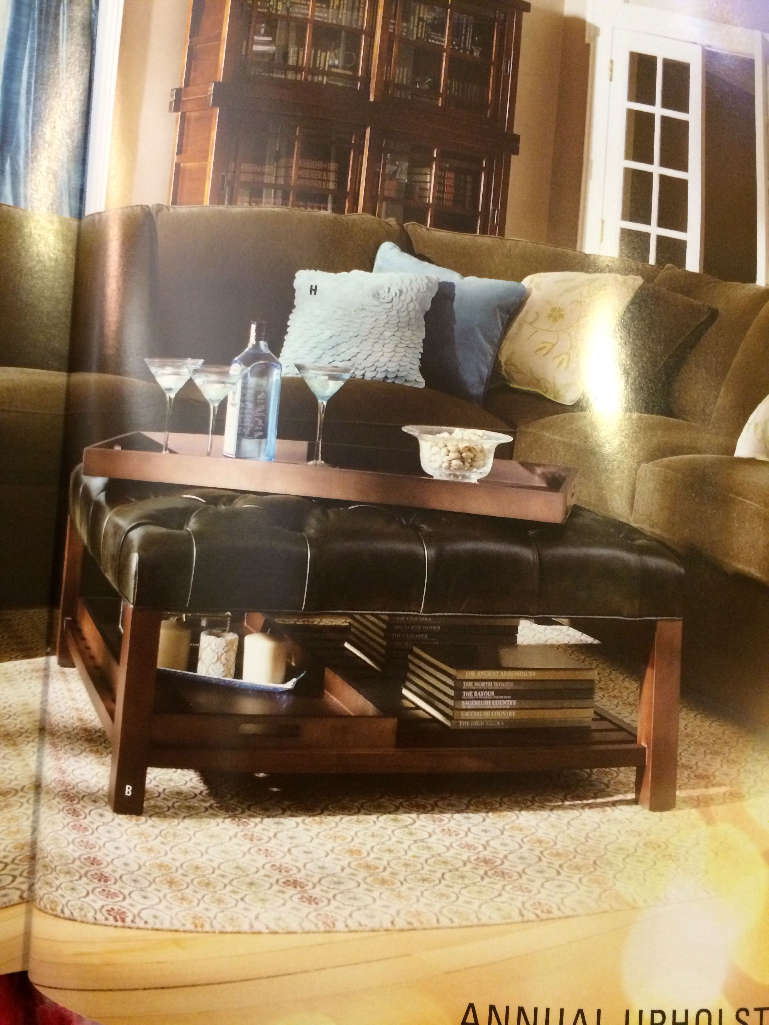 Arhaus Butler Square Tufted Leather Ottoman Living Room