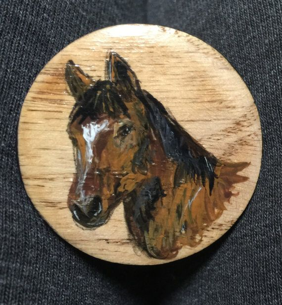 Hand Painted Wooden Horse Head Cabinet Knob   Pull