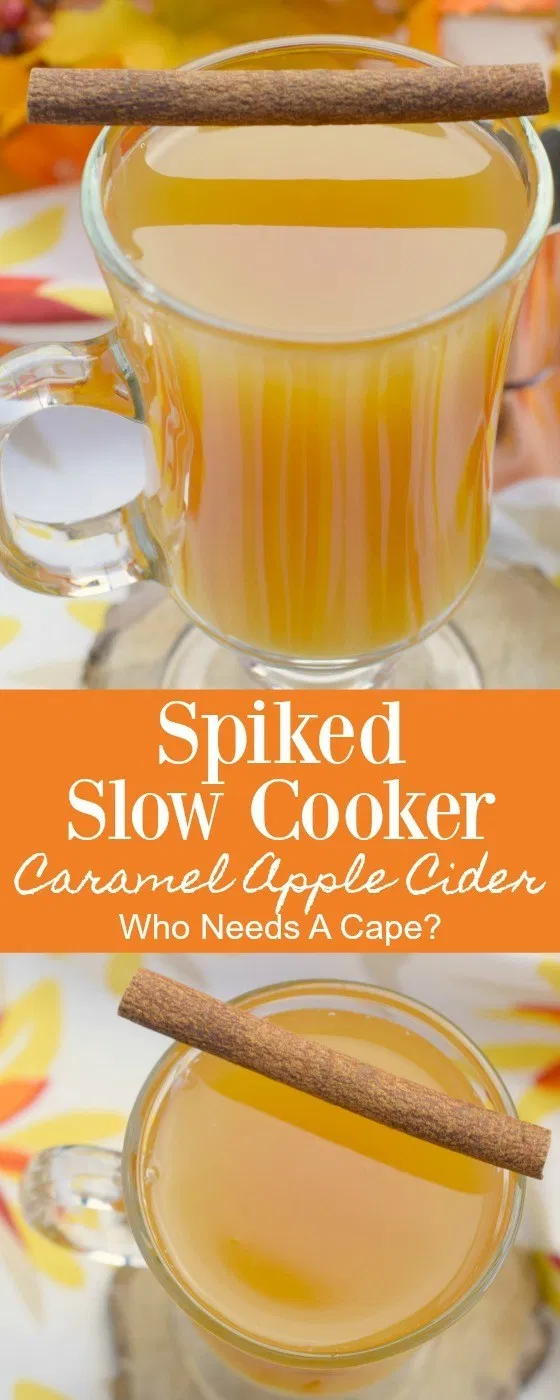 Spiked Slow Cooker Caramel Apple Cider #spikedapplecider