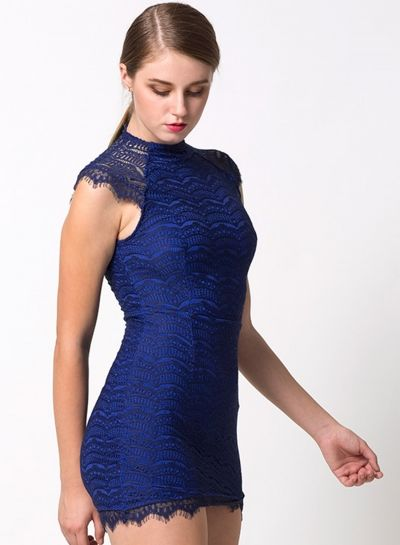 6435646ce57a Fashion High Neck Eyelash Lace Trim Bodycon Dress | BLUE GREEN ...