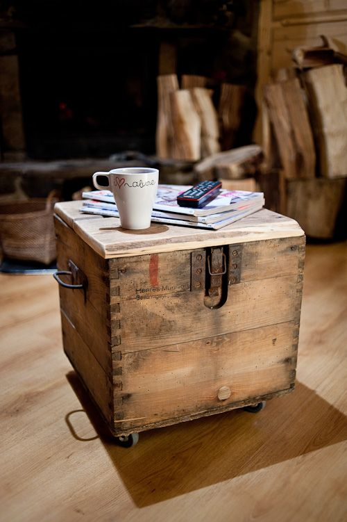 Old Crate For Ammunition As Small Coffee Table With Storage On Wheels